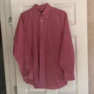 Orvis medium red and white plaid button down